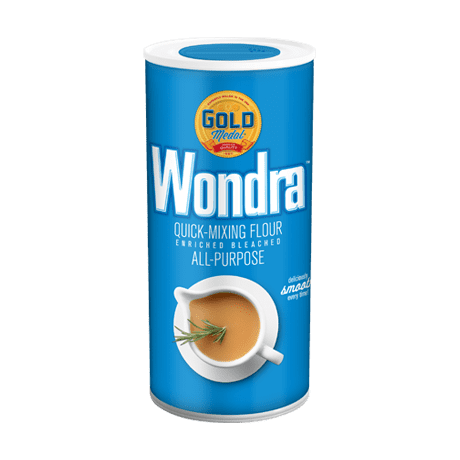 Cylindrical container of Wondra Quick Mixing flour