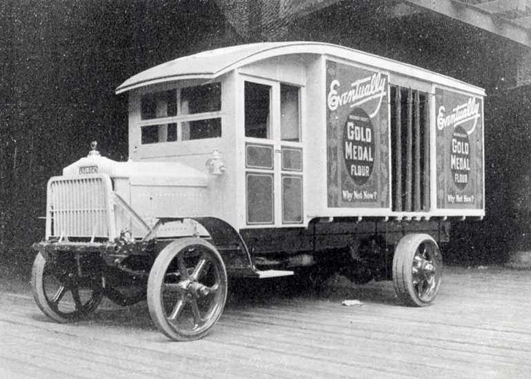 A Gold Medal Flour delivery truck from 1920
